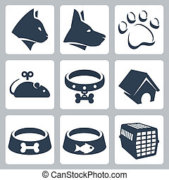 Vector pet icons set: cat, dog, pawprint, mouse, collar, kennel, bowls, cage