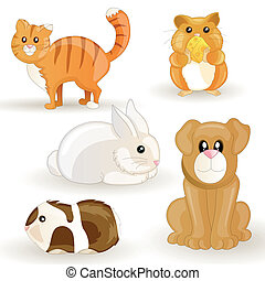 Vector set of cartoon pets
