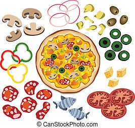 vector pizza and ingredients for your design