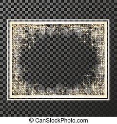 Vector rectangle frame with golden stars on the transparency background, sparkles golden symbols - star glitter, stellar flare, shining reflections. - illustration