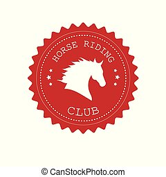 Vector red retro logo with horse head silhouette