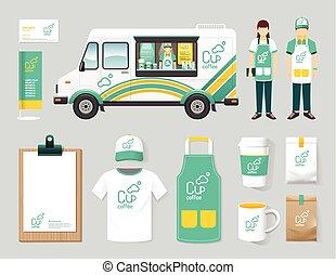 Vector restaurant cafe design set street food truck shop, flyer, menu, package, t-shirt, cap, uniform and display design/ layout set of corporate identity mock up template.