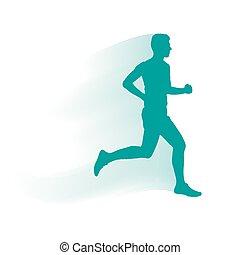 Vector runner and marathon line silhouette symbol