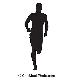 Vector runner, front view, isolated silhouette