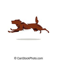 Vector Running Dog Cartoon Illustration.