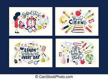 Vector school card set.