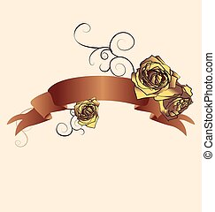 Vector scroll banner with brown and yellow roses and flourishes. Cream colors flowers and ribbon.