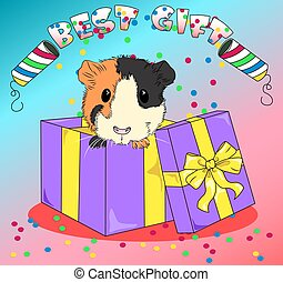 vector sea pig in colored box with confetti best gift to baby