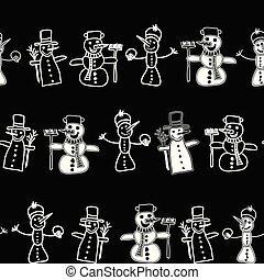 Vector seamless black and white texture with doodle snowman on black background. Snowman in a rows.