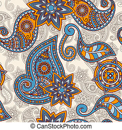 vector seamless hand drawn paisley pattern, clipping masks
