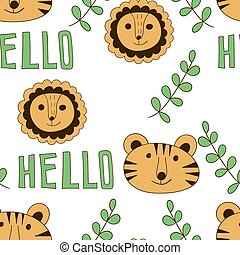 Vector Seamless Pattern with Cartoon Lions and Tigers