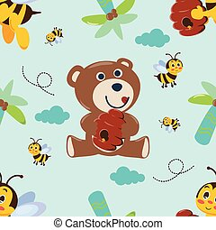 Vector seamless pattern with cute bear and bees.