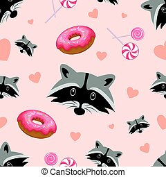 Vector seamless pattern with cute raccoon, donuts and lollipops on a pink background. Vector.