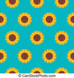 Vector seamless pattern with cute sunflowers characters on blue. Sweet honey background for beekeeping products.