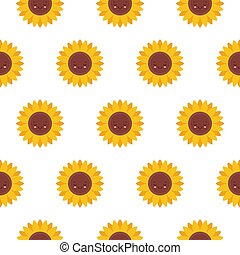 Vector seamless pattern with cute sunflowers characters. Sweet honey background for beekeeping products.