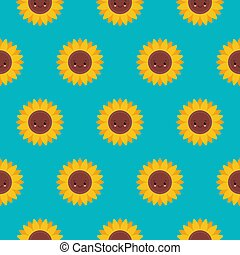 Vector seamless pattern with cute sunflowers on blue. Sweet honey background for beekeeping products.