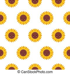 Vector seamless pattern with cute sunflowers. Sweet honey background for beekeeping products.