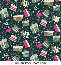 Vector seamless pattern with fireworks, confetti, gift boxes.