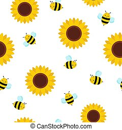 Vector seamless pattern with flying cartoon bees and sunflowers isolated on white background.
