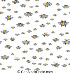 Vector seamless pattern with honey bee on a white background. Bumblebee, beehive.