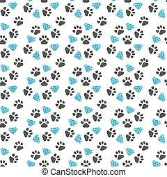Vector seamless pattern with paw footprints of a dog.