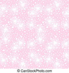 Vector seamless pattern with small furry flowers, pompoms or snowflakes in white color on a soft pink background