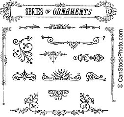 Vector Series of Vintage Ornaments. All pieces are separate and easy to edit.
