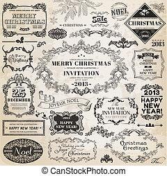 Vector Set: Christmas Calligraphic Design Elements and Page Decoration, Vintage Frames