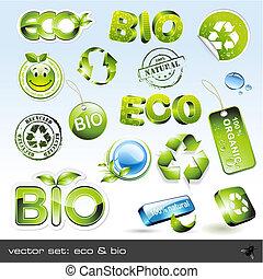vector set: eco & bio - 16 different items