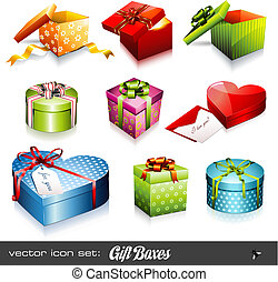 set of nine colorful vector giftboxes