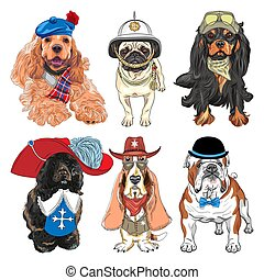 Vector Set hipster dogs in clothes