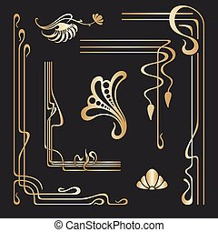 Vector set of art nouveau decorative elements.