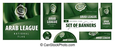 Vector set of banners with the national flag of the Arab League