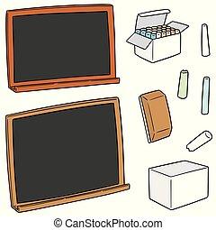 vector set of blackboard and chalk