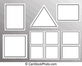 Vector set of blank postage stamps isolated on grey background, vector illustration