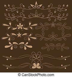 set of brown floral design elements