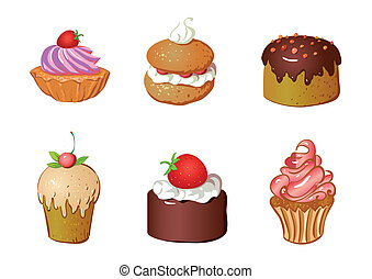 vector set of cakes and dessert, biscuit