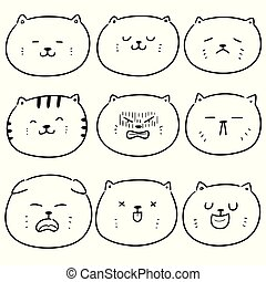 vector set of cat face