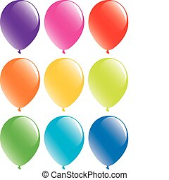 vector set of colorful balloons on white background