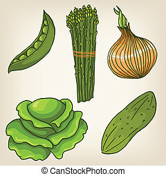 Vector Set of cute hand drawn vegetables