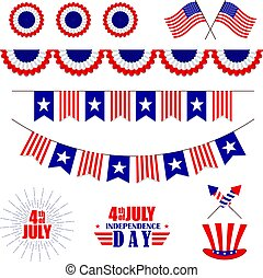 Vector set of decoration for 4th of July. Bunting for USA Independence Day. Isolated on white.