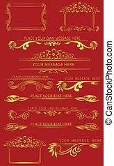 set of golden caligraphic design elements