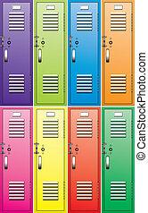 vector set of colorful metal school lockers