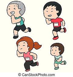 vector set of people running