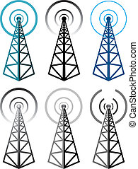 vector set of radio tower symbols