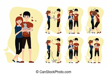 vector Set of romantic couple with dog pets.