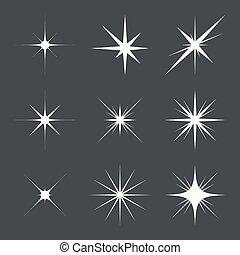 Vector set of sparkle lights stars. Stars with rays, explosion, fireworks. dark background