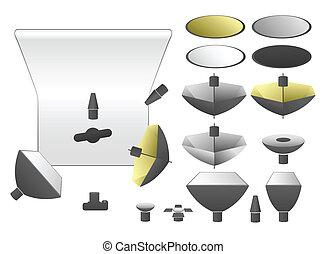 Vector set of studio equipment, flashlights and umbrellas