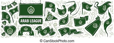 Vector set of the national flag of Arab League in various creative designs