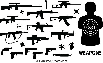 vector set of various weapons